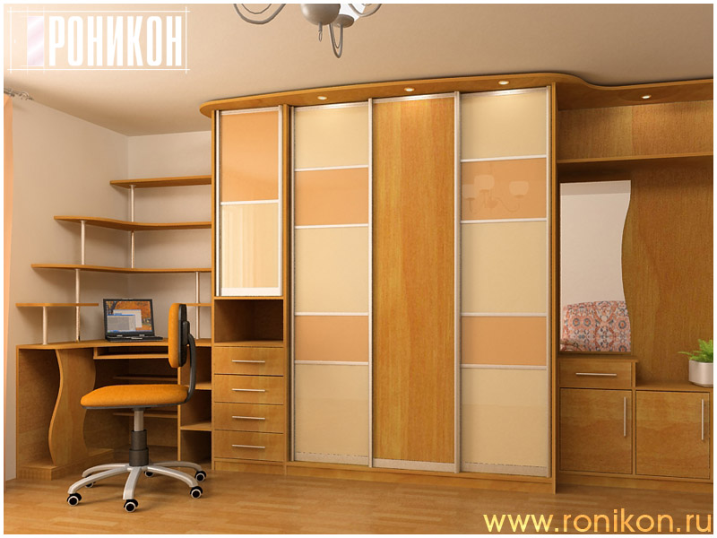 Гардеробный шкаф со столом 09 мебель на заказ.